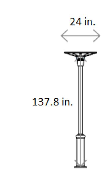 ILPL5-6K Solar Powered Modern Style Post top Light Fixtures 2600 Lumens