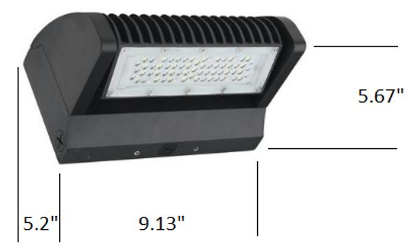 LWPR60-5K-1 60 Watt Series LED Wall Pack Light Fixture Adjustable Cut Off Rotational LED Arrays