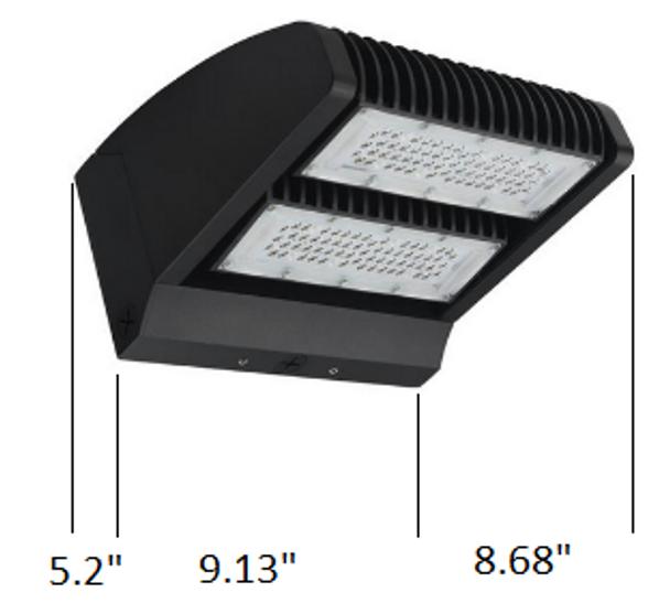 LWPR60-5K-2 60 Watt LED Wall Pack Light Fixture with Adjustable Cut Off Dual Rotational LED Arrays