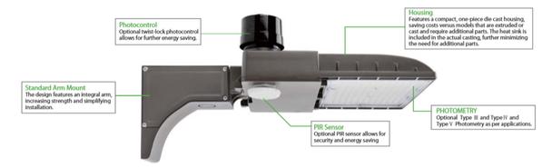 IL-MAL04-75-4K-A 480V 75 Watt LED Area Light Fixture with Arm Mount, 4000K Color Temp, 320 Watt MH Equivalent
