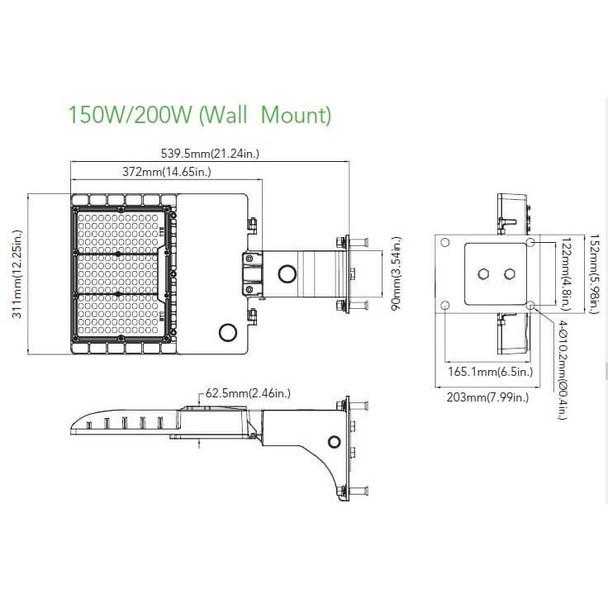 IL-MAL04-200-4K-A 480V 200 Watt LED Area Light Fixture, Medium Frame, with Arm Mount, 4000K Color Temp, Area Light Fixture 800 Watt MH Equivalent