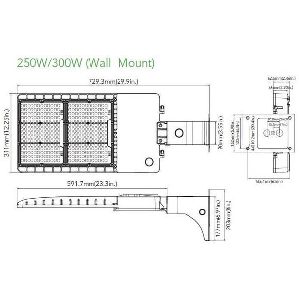 IL-MAL04-300-4K-A 480V High Mast 300W LED Area Light Fixture with Arm Mount, 4000K Color Temp, 1500 Watt Metal Halide Equivalent