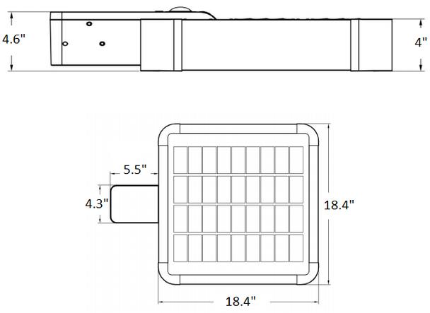 Solar powered Walk way light 2200 Lumens Shoe Box Area light Style 90 Metal halide Equal. post Mount