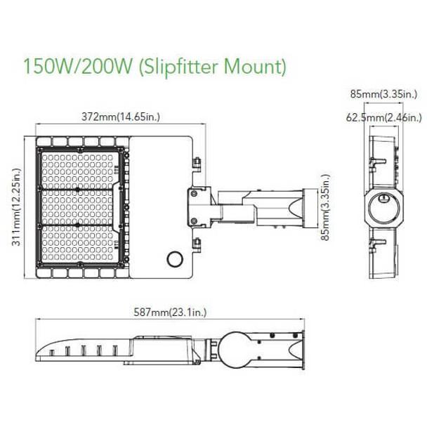 IL-MAL04-200-5K-S 480 VAC 200W Medium frame, LED Flood Light Fixture with Slipfitter Mount, 5000K Color Temperature Light Fixture 800 Watt MH Equivalent