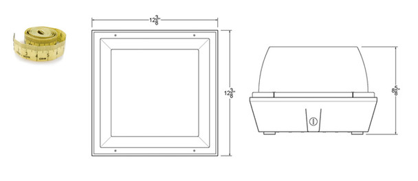 """100 Watt Induction Parking Garage Light Fixture / White 12"""" Square with Surface and Canopy Mounting"""