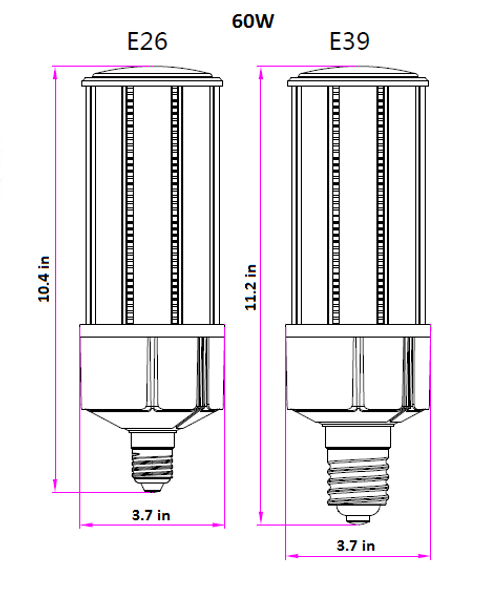 IC60-IP64 60W LED Corn Light, SNC-CLW-60WA1 250 Watt Metal Halide Equivalent, LED Replacement, E26 / E39 Base UL Listed