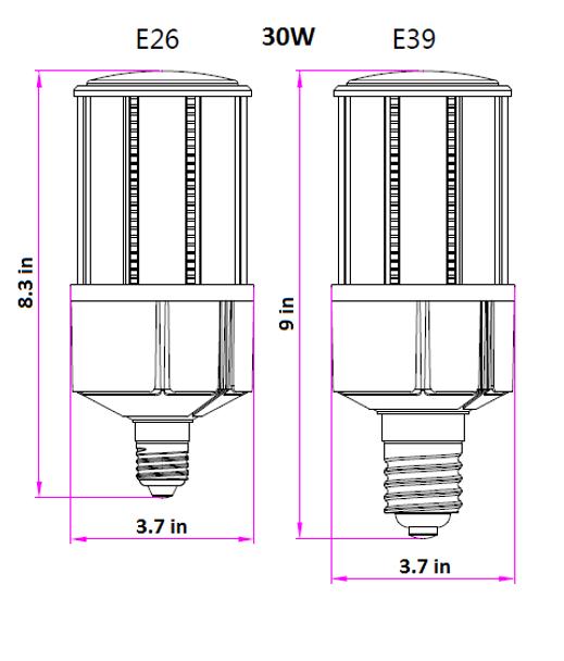 IC30-IP64 30W LED Corn Cob light Bulb, SNC-CLW-30WA1, 120w Metal Hailide Equivalent IP64, E26 / E39 Base UL