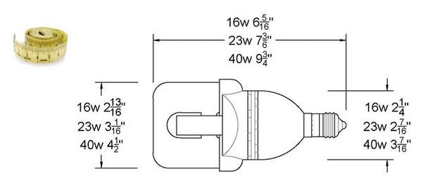 LVD Venus 40W Induction Self Ballasted Retrofit Lamp E26 / E39 120v, 220v, 277v  40 Watt 3000K - 5000K