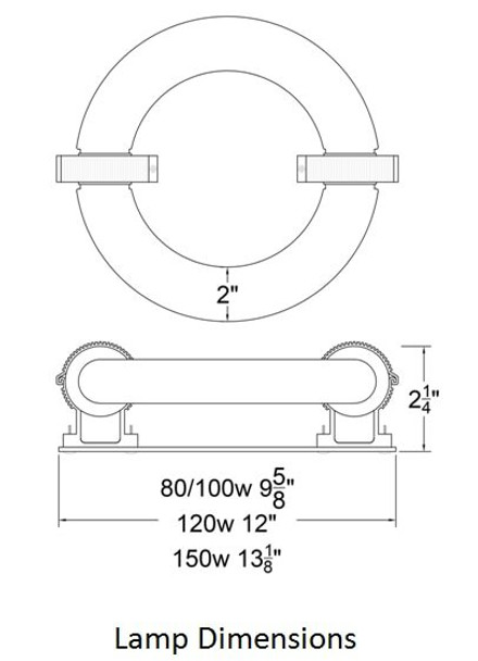 ILRLB100 100W Induction Circular Light Round Replacement Lamp YML-WJY100H850W38 and UVL-100R 120v 3000K - 5000K (Lamp Only)