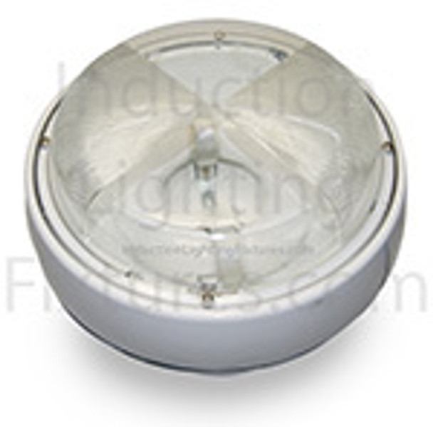 "IGF660 Series 60w Induction Parking Garage Light Fixture / White 15"" Round Fixture for Surface and Canopy Light 60 watt"