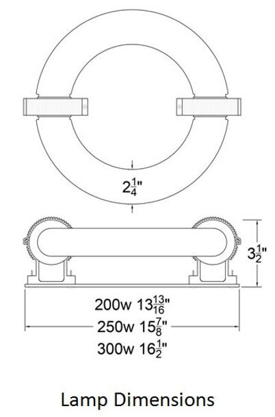ILRLB250 250W Induction Circular Light Round Replacement Lamp YML-WJY250H850W38 and UVL-250R 120v 3000K - 6000K (Lamp Only)