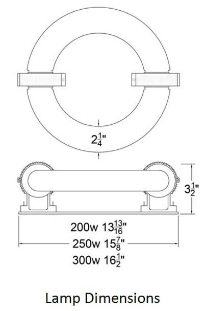 ILRLBJK300 300W Induction Circular Light Round Replacement JK ST300W 103WJY300HRZ01 120v 3000K - 6000K (Lamp Only)