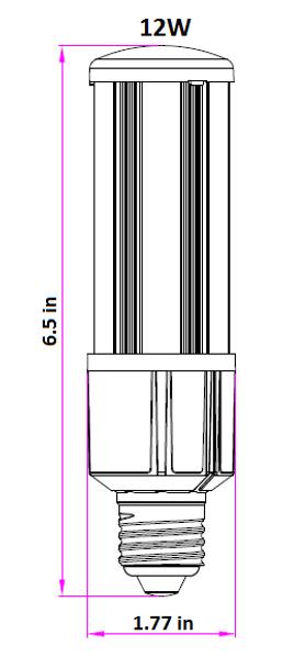 ICM12-IP64 12W LED Corn Light, SNC-CLW-12WA1 12 Watt LED Replacement, 360 Degree Beam Angle, E26 / E27 Base UL 3000K - 6000K