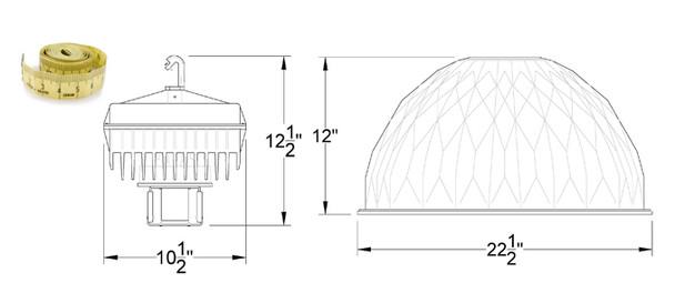 "IHB1100 100W Induction 22"" Aluminum High Bay Hanging Warehouse Light Fixture 100 watt"