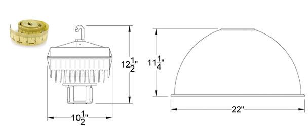 "IHB5 Series 200W Induction High Bay with 22"" Smooth Aluminum Reflector Warehouse Light Fixture 200 watt"