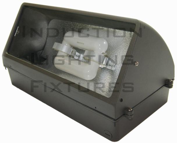 IW1120 Series 120W Induction Wall Pack Outdoor Light Fixture 18 inch width, 45 Degree Cutoff, 120 Watt