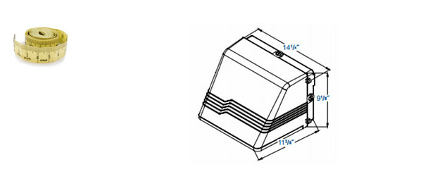 "IW4M60 60W Induction Outdoor Wall Pack Light Fixture Wall Mount, Full Cutoff 14"" Dark Sky Compliant 60 Watt"