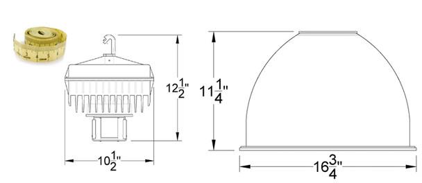"IHB5M Series 80W Induction High Bay with 16"" Smooth Aluminum Reflector Warehouse Light Fixture 80 watt"