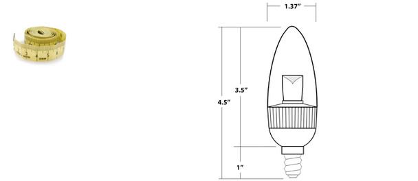3W Candlelight Warm White Candelabra Lamp Bulb 3 Watt