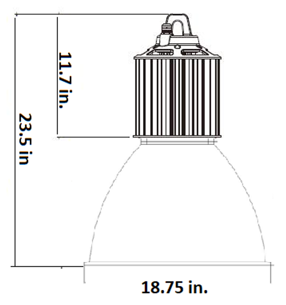 LHB3-100-CP Series 100 Watt LED High Bay Fixture with 45 Degree Clear Acrylic Prismatic Reflector