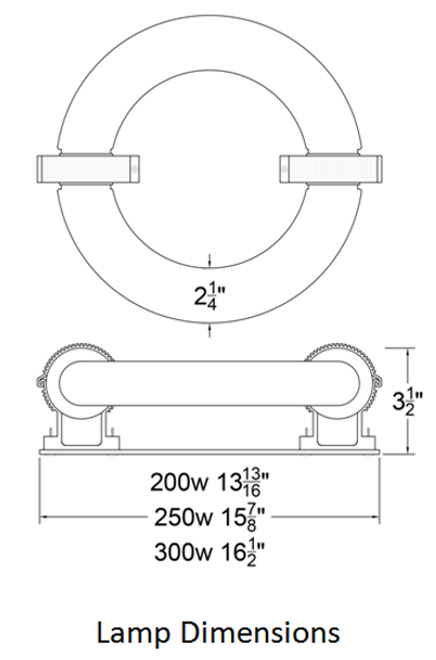 ILRLB Series 300W Induction Circular Light Round Replacement Lamp 3000K 300 Watt Replacement for YML YML-WJY300H850W38 and UVL UVL-300R
