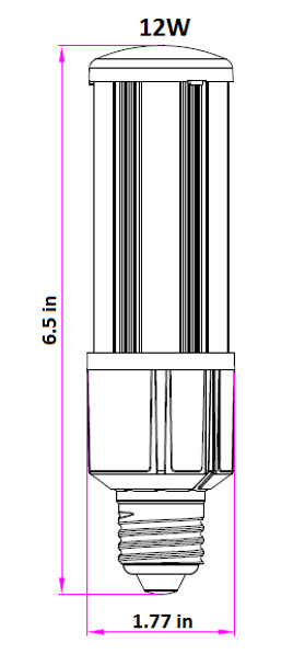 LED Corn Light IP64 12W, SNC-CLW-12WA1 12 Watt LED Replacement, 360 Degree Beam Angle, E26/E27 Base UL 5000K