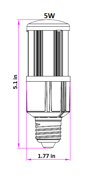 ICM5-4KIP64 LED Corn Light 5W, 5 Watt LED Corn Bulb, LED Cluster 360 Degree Beam Angle Lamp with Medium E26/E27 Base UL Listed 4000K