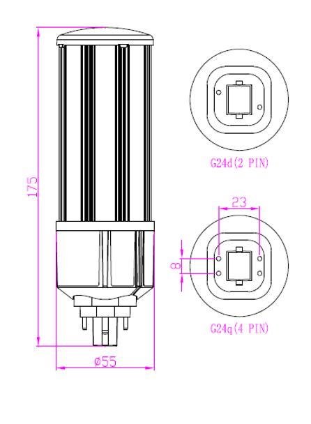 20 Watt LED PL Corn Light, LED Corn Cob PL, 360 Degree Beam Angle , G24q (4 Pin) Base 5000K