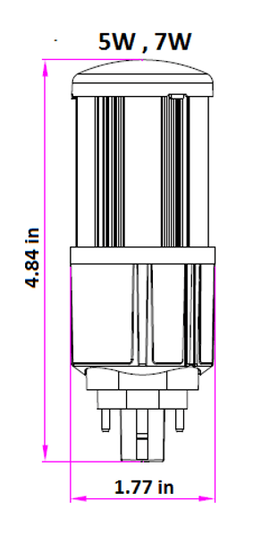 7 Watt LED Corn Light, LED CornCob PL, LED Cluster 360 Degree Beam Angle Lamp with with G24q (4 Pin) Base 5000K