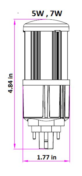 7 Watt LED Corn Light, LED CornCob PL, LED Cluster 360 Degree Beam Angle Lamp with with G24d (2 Pin) Base 4000K