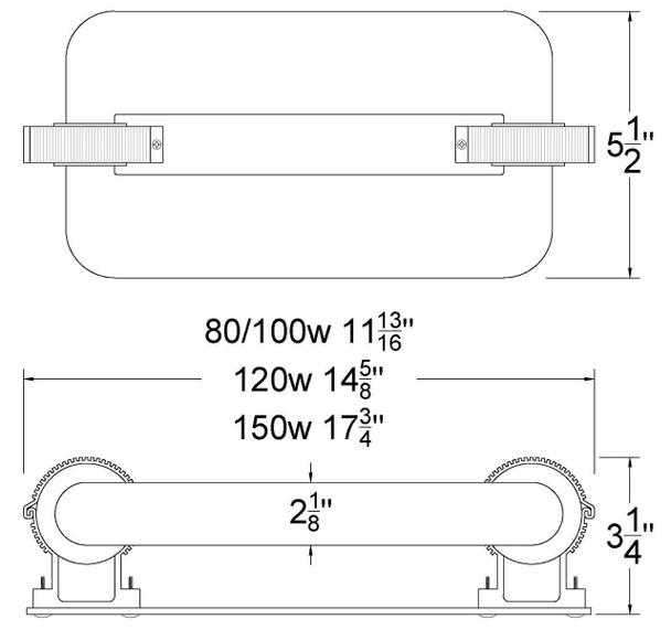 ILSLB Series 120W Induction Rectangular Light Square Replacement Lamp 5000K 120 Watt Replacement for JK ST120W 103WJY120JRZ01