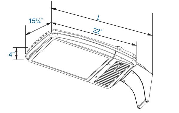 LKH256-5K 256 Watt LED Area Light Fixture, Standard Shoebox Fixture Replacement 1000 Watt MH Replacement