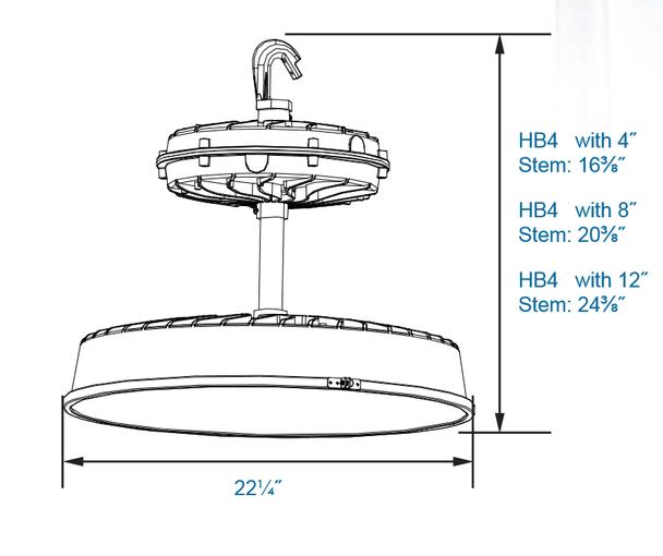 291 Watt LHB4 Series LED High Bay Fixture with 22 inch Lens and Array. DLC Certified. 1000 Watt Metal Halide Replacement