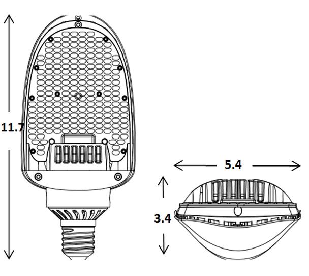 ILFCS-54-5K LED Street Light 54W, 54 Watt Directional LED Retrofit, LED module 150 Degree Beam Angle Lamp with Medium E26/E27 Base UL Listed 5000K DLC Certified