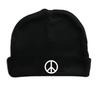 Peace Symbol Hippie 60s Black Hat Infant Baby Beanie Cap
