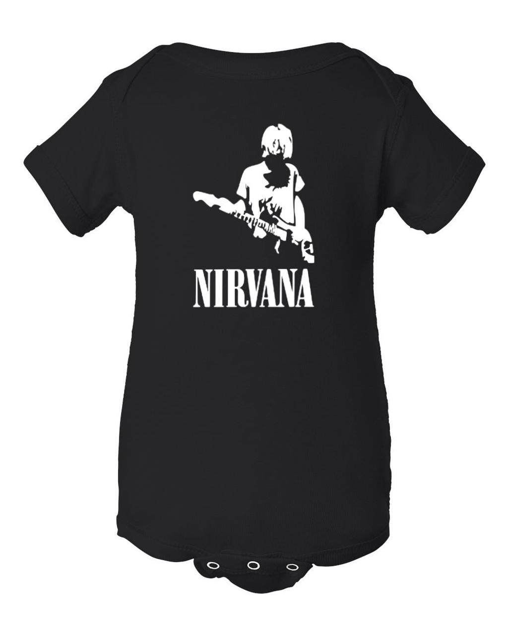Nirvana Cobain Baby Black Bodysuit Grunge Rock Jumper