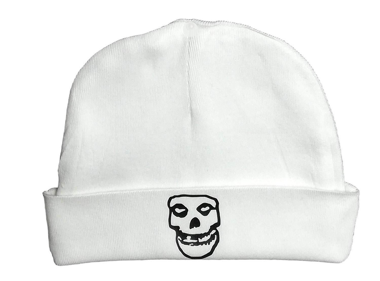 Misfits Fiend Club Infant Baby Punk Rock & Roll White Beanie Cap Danzig Skull