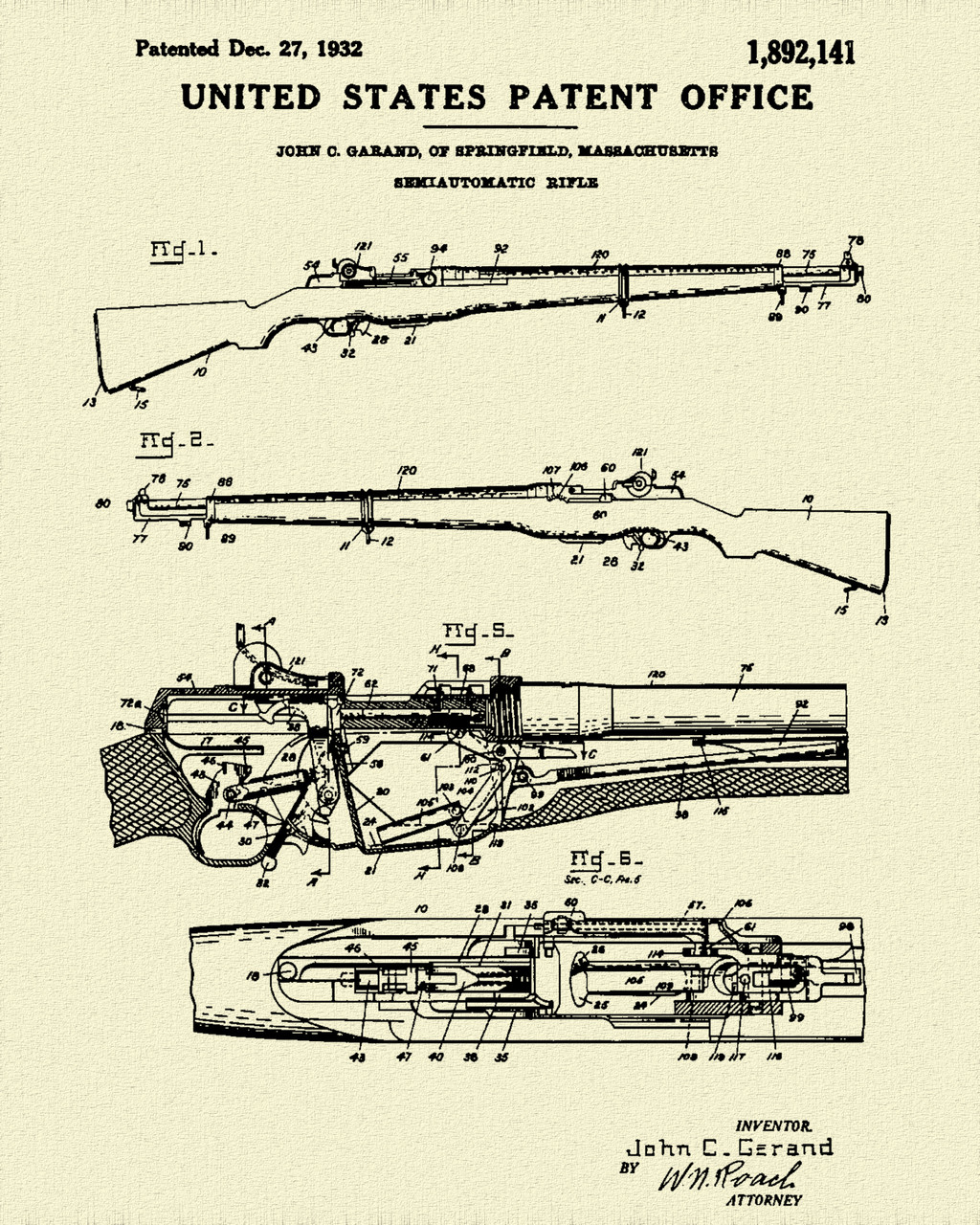 1932 M1 Garand Rifle Patent Print Dye Sublimation & Heat Infused Pressed Wall Art 8.5 Inches by 11 Inches