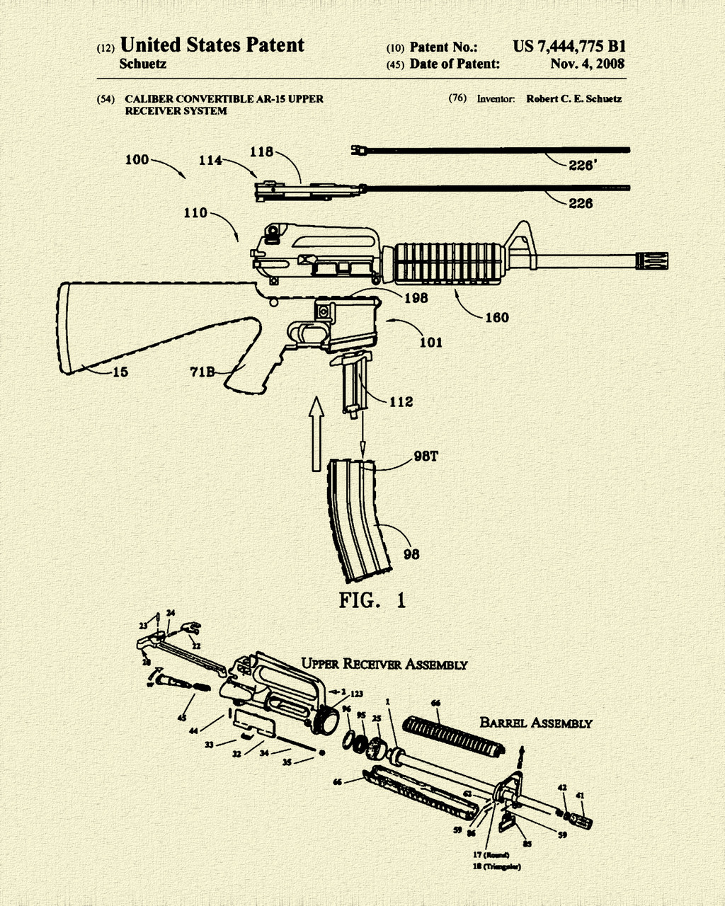 AR-15 Rifle Caliber Converter Patent Print Dye Sublimation & Heat Infused Pressed Wall Art 8.5 Inches by 11 Inches