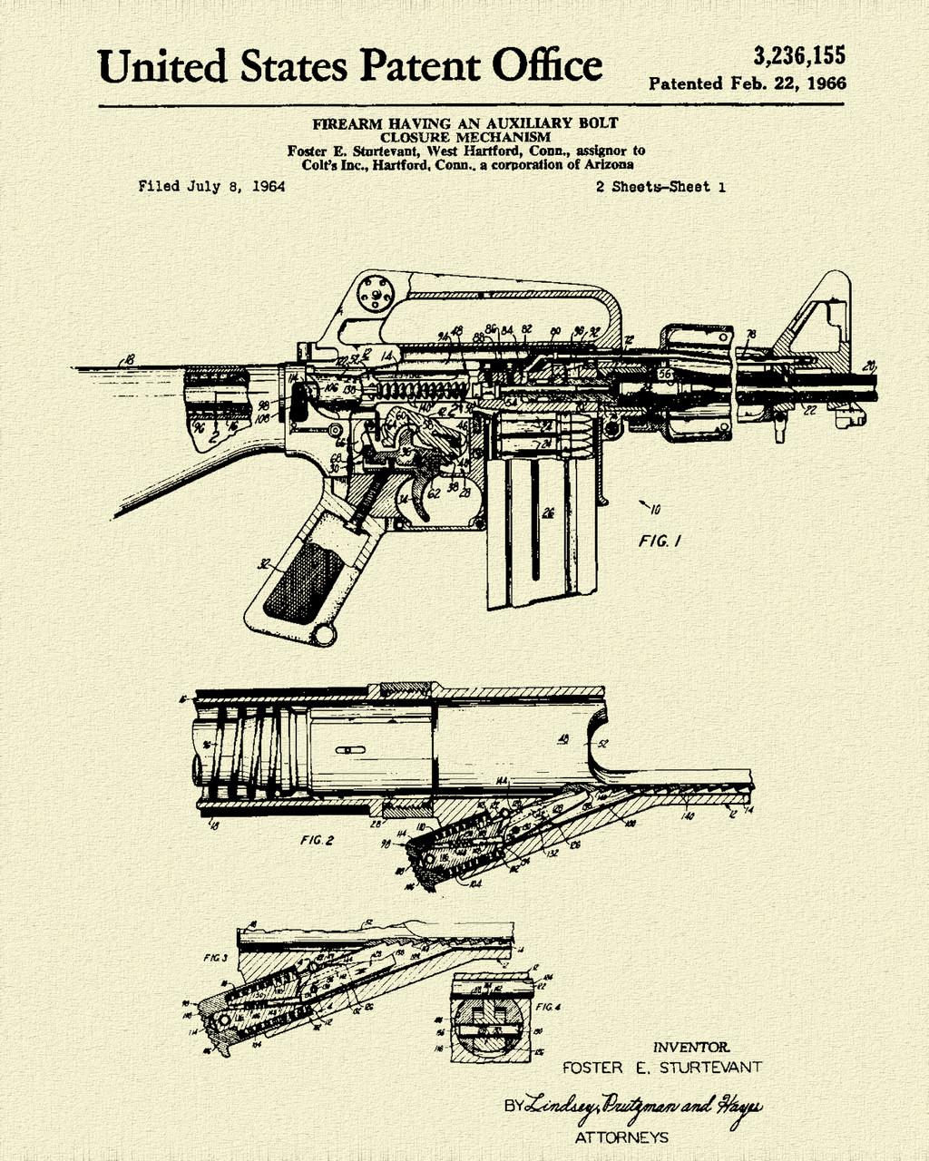 Colt Automatic Rifle Patent Print Dye Sublimation & Heat Infused Pressed Wall Art 8.5 Inches by 11 Inches