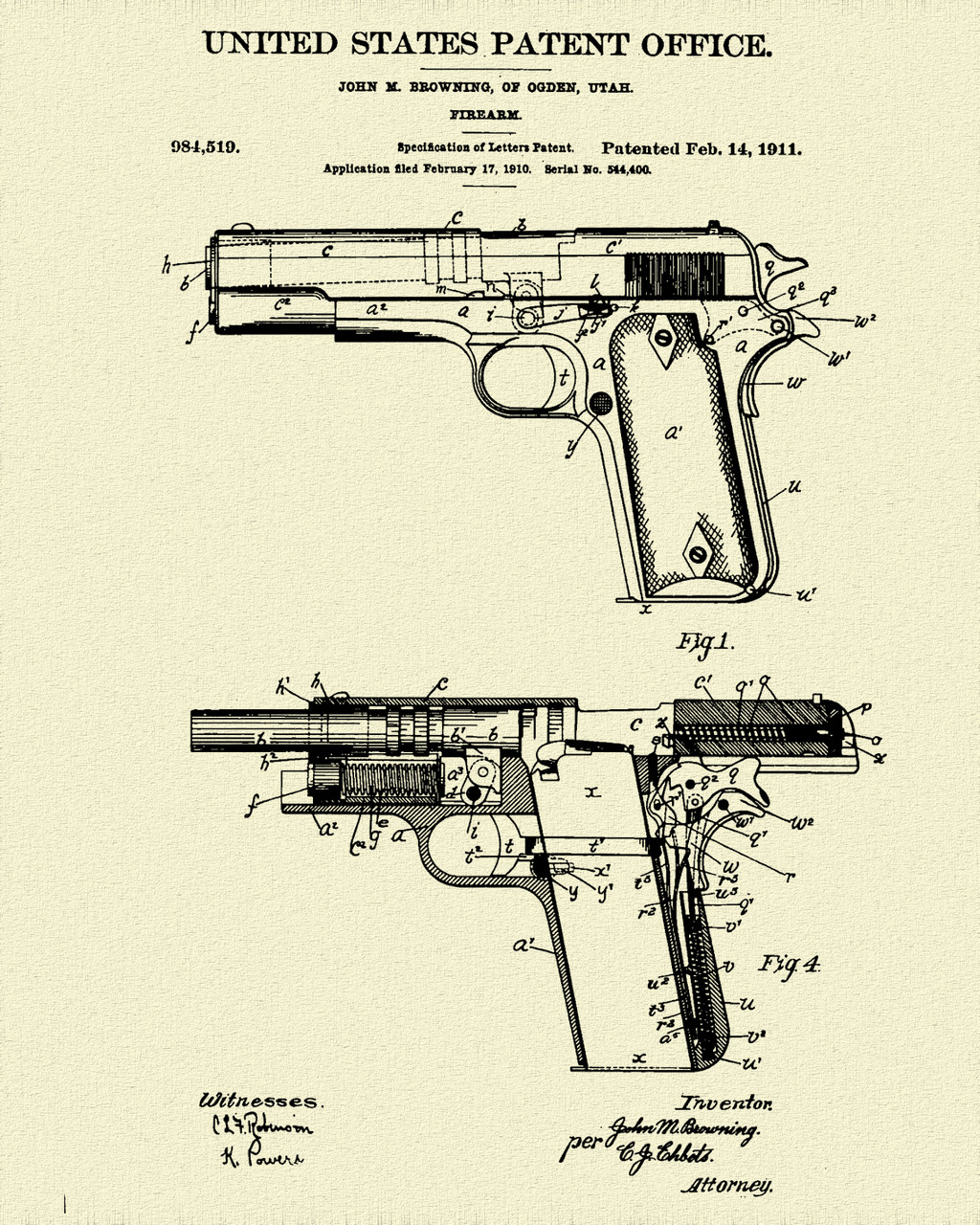 Colt 1911 Semi Auto Patent Print Dye Sublimation & Heat Infused Pressed Wall Art 8.5 Inches by 11 Inches