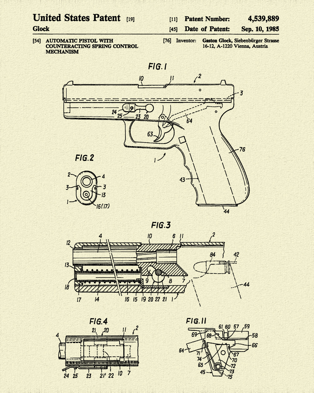 1985 Glock Pistol Patent Print Dye Sublimation & Heat Infused Pressed Wall Art 8.5 Inches by 11 Inches
