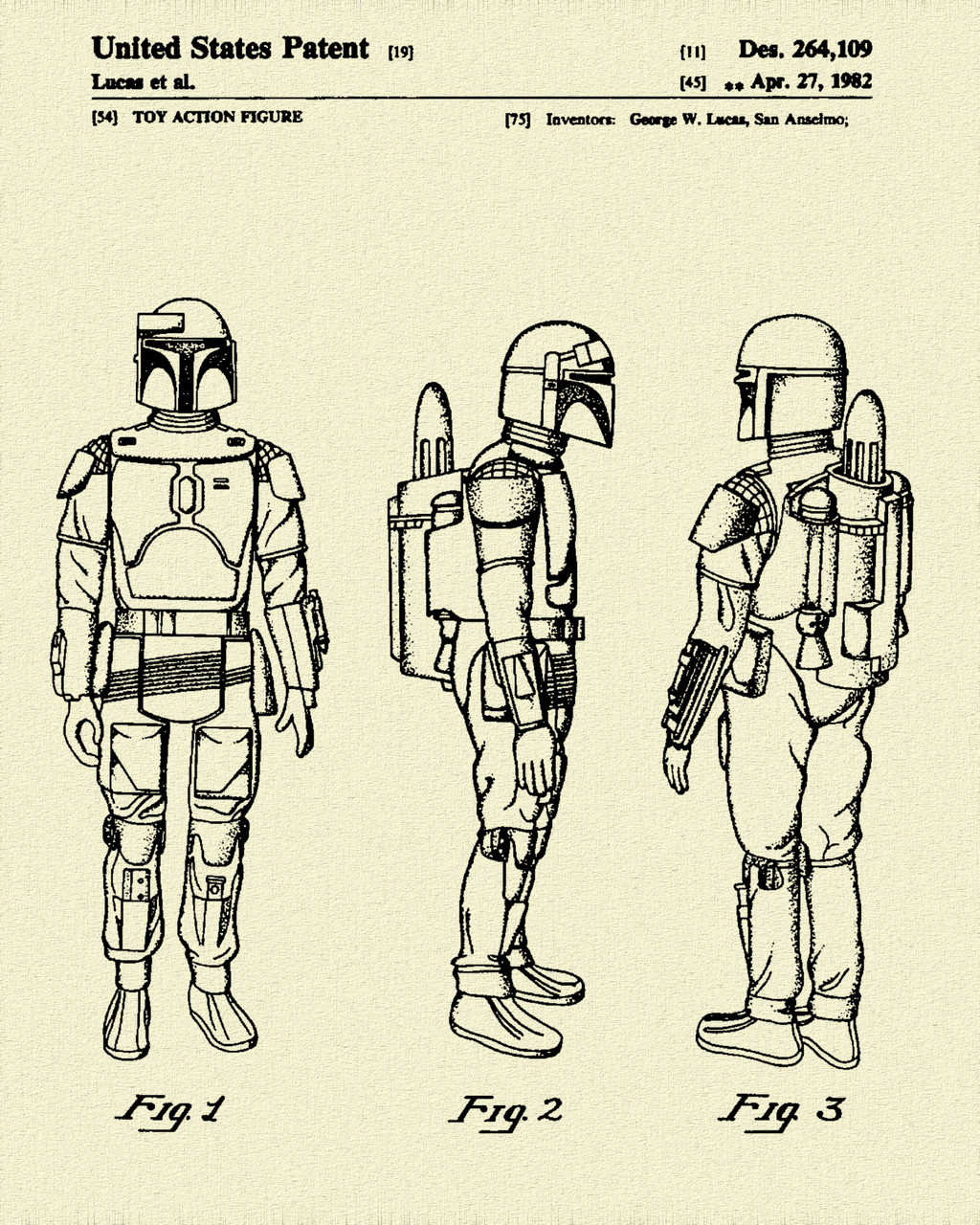 Star & Force Wars Bounty Hunter Patent Print Dye Sublimation & Heat Infused Pressed Wall Art 8.5 Inches by 11 Inches