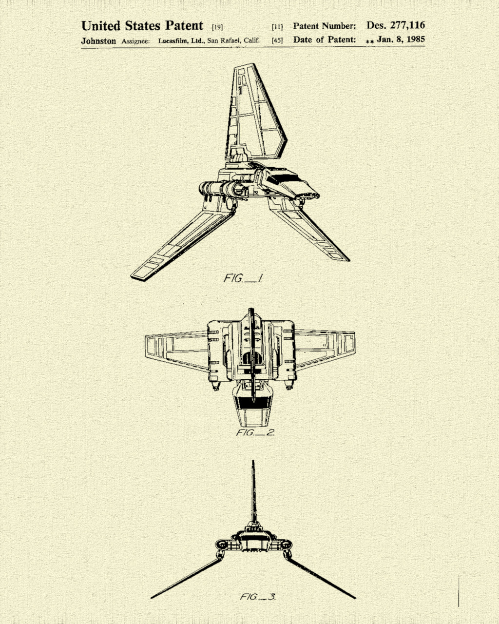 Star & Force Wars Shuttle Patent Print Dye Sublimation & Heat Infused Pressed Wall Art 8.5 Inches by 11 Inches