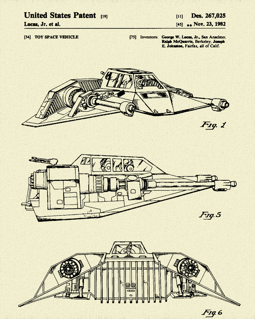 Star & Force Wars Snowspeeder Patent Print Dye Sublimation & Heat Infused Pressed Wall Art 8.5 Inches by 11 Inches