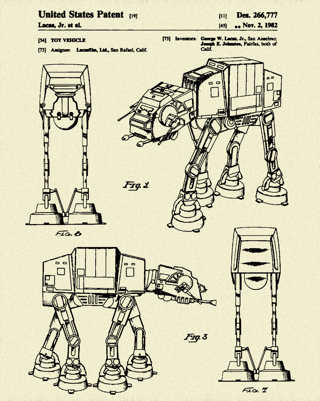Star & Force Wars Walker AT AT Patent Print Dye Sublimation & Heat Infused Pressed Wall Art 8.5 Inches by 11 Inches