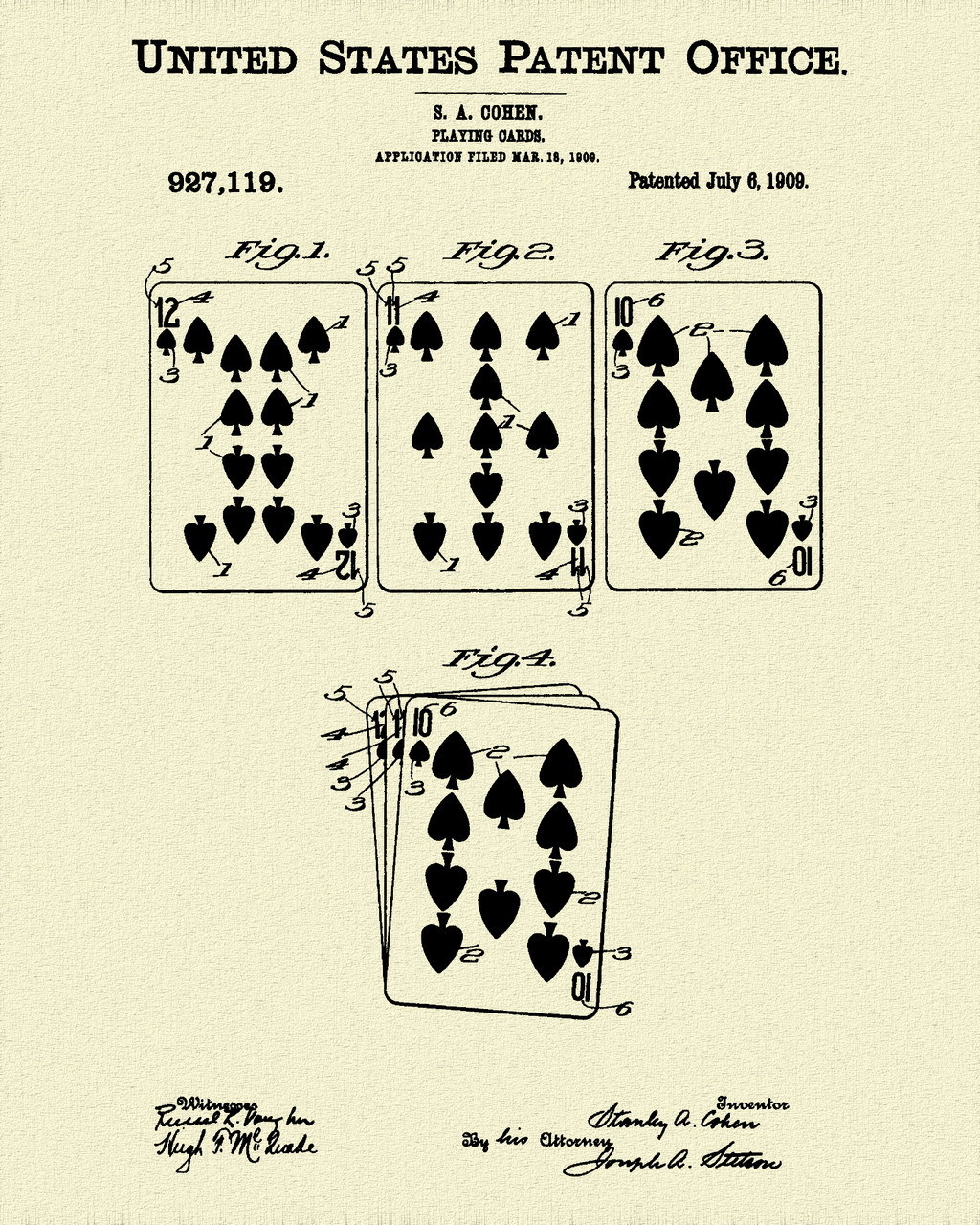 1909 Playing Cards Patent Print Dye Sublimation & Heat Infused Pressed Wall Art 8.5 Inches by 11 Inches
