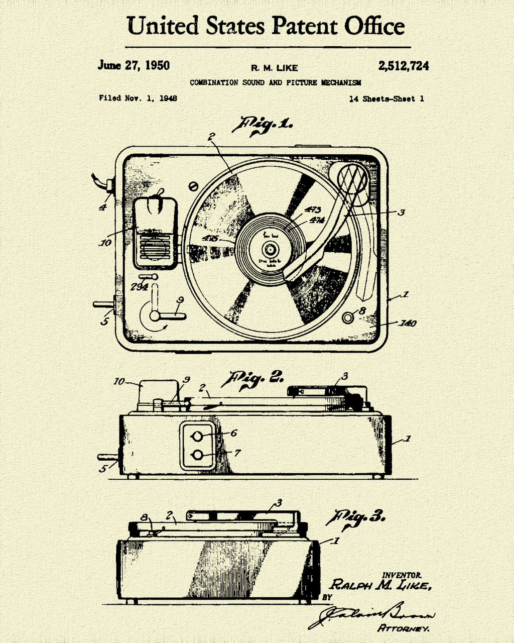1950 Record Player Patent Print Dye Sublimation & Heat Infused Pressed Wall Art 8.5 Inches by 11 Inches