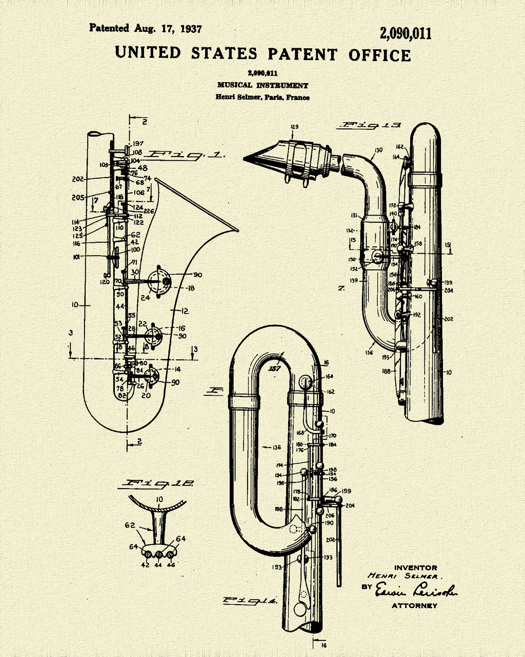 Saxophone Patent Print Dye Sublimation & Heat Infused Pressed Wall Art 8.5 Inches by 11 Inches