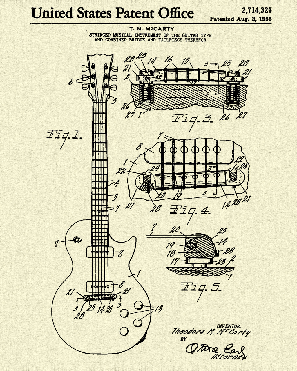 Electric Guitar Patent Print Dye Sublimation & Heat Infused Pressed Wall Art 8.5 Inches by 11 Inches